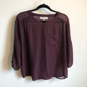 Loft Maroon Button Front Top